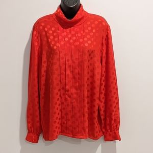 Vintage red polka dot blouse